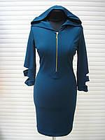 Платье бирюзовое молодежное, платье с капюшоном, платье облегающее повседневное, фото 1