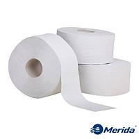 Туалетная бумага Merida Klasik белая однослойная в рулоне джамбо Maxi 340 м., Польша