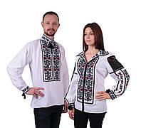 Пара вишиванок білого кольору з квітковим орнаментом з машинною вишивкою, фото 1