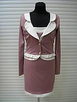 Платье женское имитация пиджака, платье теплое трикотажное, платье офисное строгое