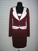 Платье женское имитация пиджака, платье теплое трикотажное, платье офисное строгое темное, фото 1