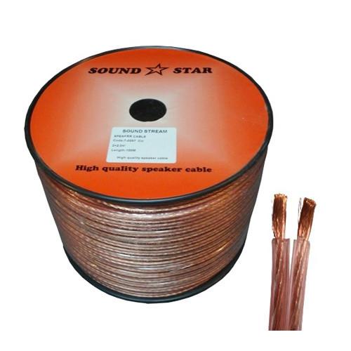 Кабель акустический, медный, 2х2,0мм.кв., прозрачно-розовый, 100м, Sound Star