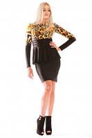 платье черное с баской, платье леопардовое по фигуре облегающее, фото 1