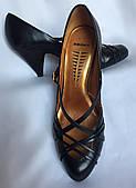 Туфли женские, Bronx черные, натуральная кожа, устойчивый каблук, большой размер 41