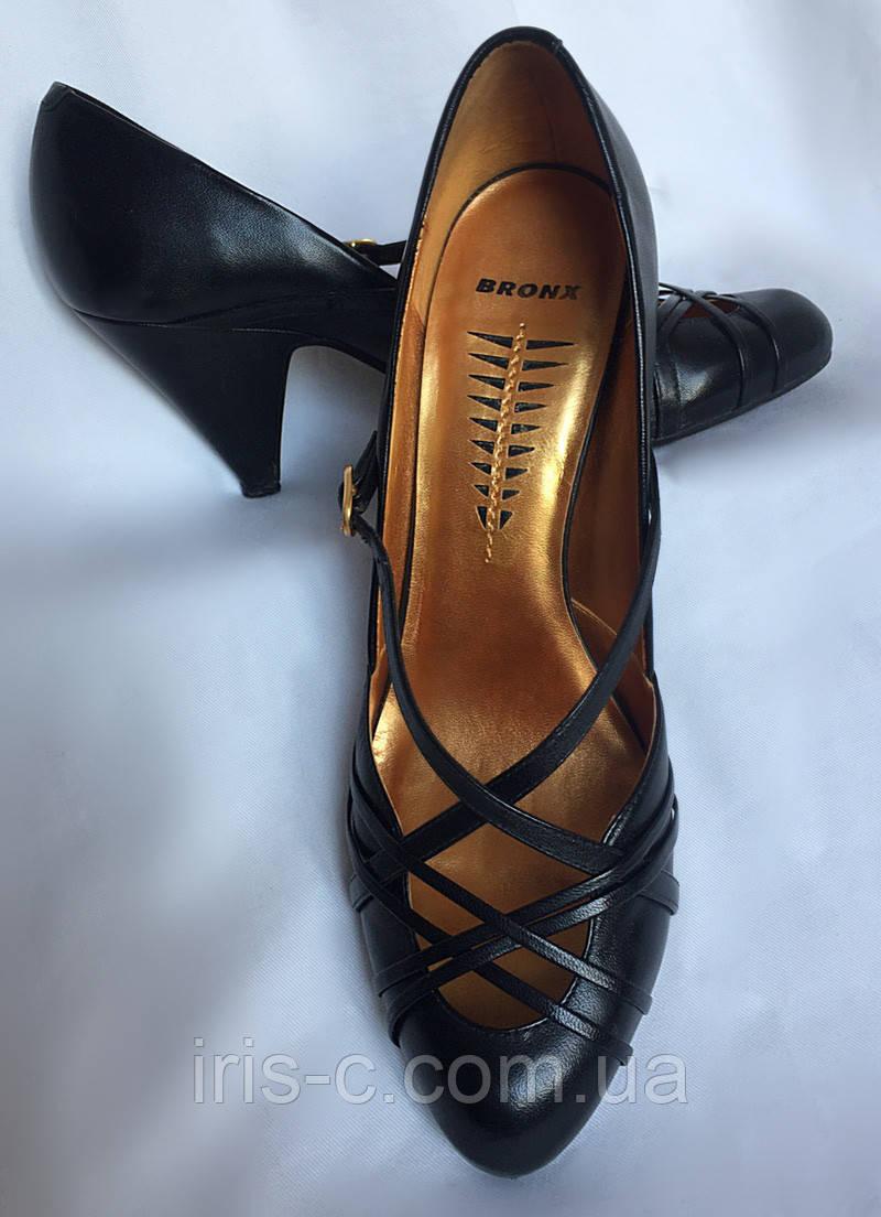 1f5156e3d Туфли женские, Bronx черные, натуральная кожа, устойчивый каблук, большой  размер 41 -