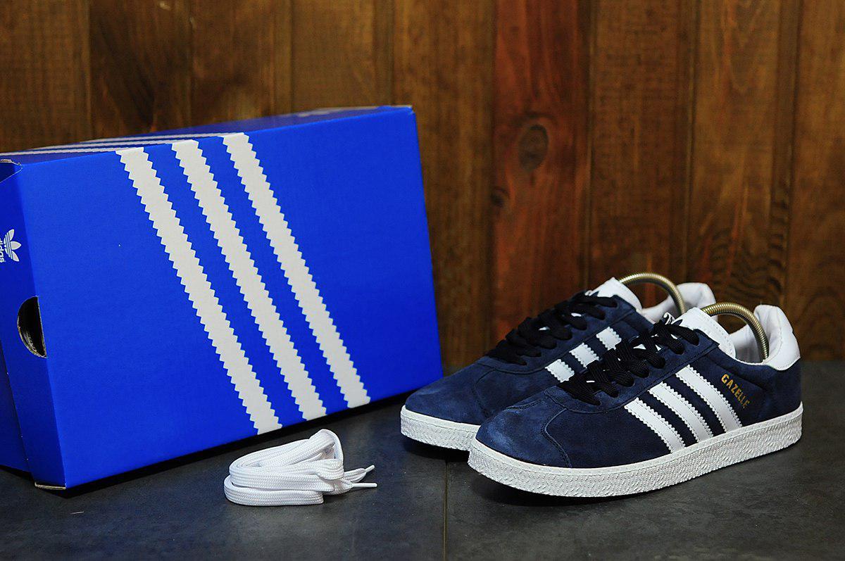 Мужские кеды Adidas Gazelle (синие), ТОП-реплика