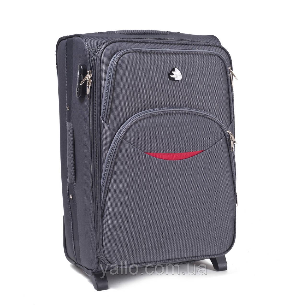 Большой дорожный чемодан на двух прорезиненных колёсах фирмы WINGS 1708 L Grey