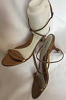 Босоножки женские Bronx золотистые, натуральная кожа, большой размер 41, фото 1
