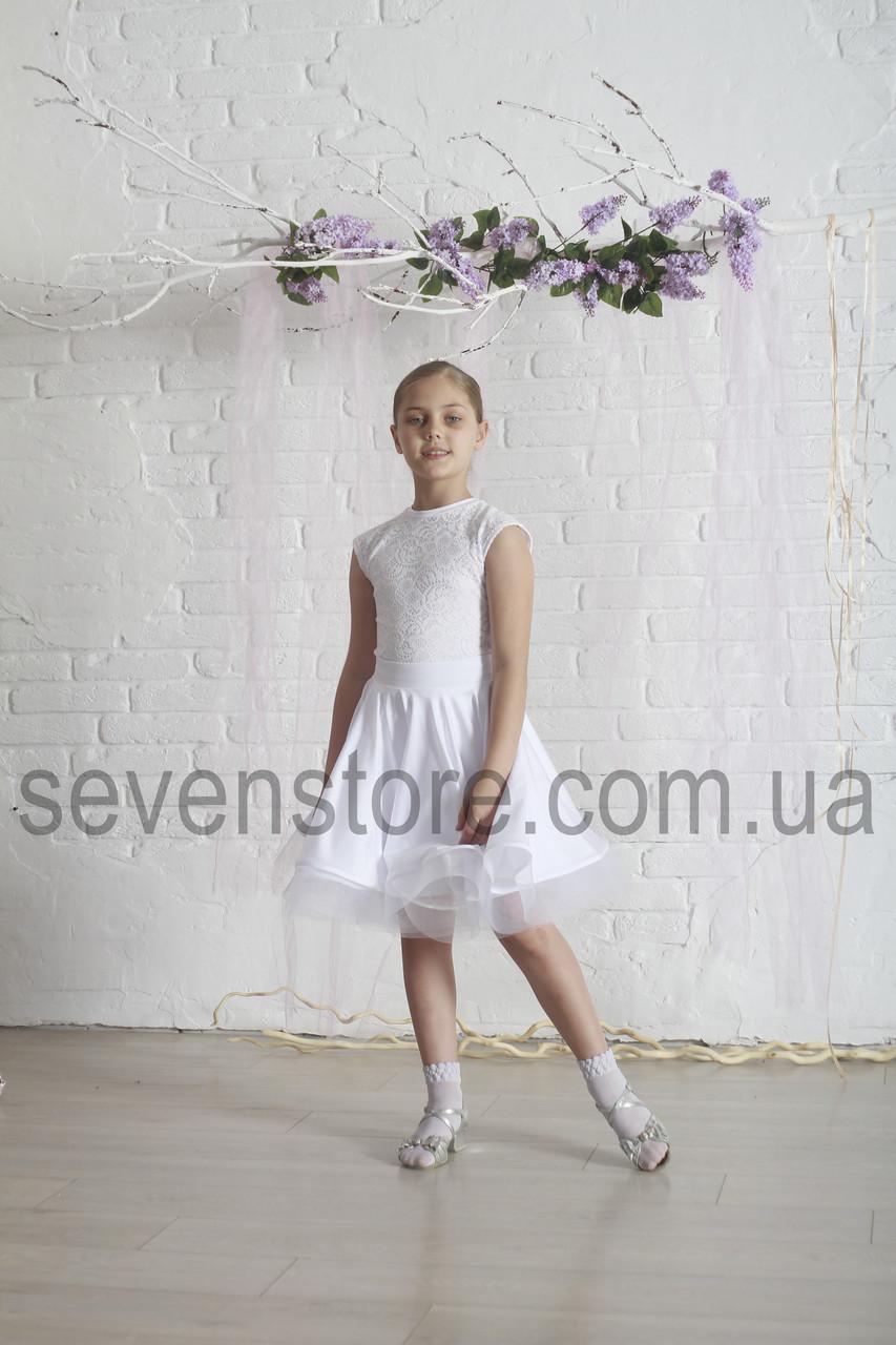 Рейтинговое платье Бейсик для бальных танцев Sevenstore 9126 Белый