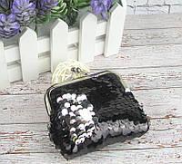 Детский кошелек в пайетках 8*8,5 см черный