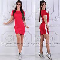 Женское летнее приталенное платье с полосками по бокам, фото 1