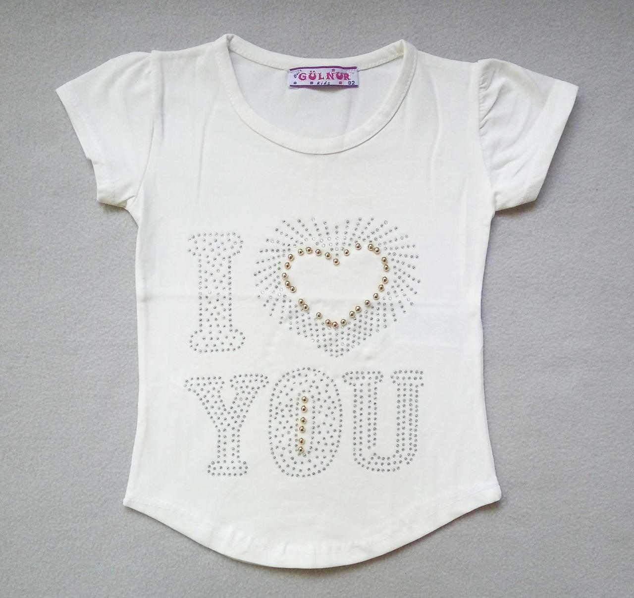 Детская футболка со стразами для девочек 2-5 лет