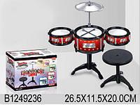 Ударная установка 3 барабана,тарелки,стульчик,в кор. 26,5*20*11,5см /36/