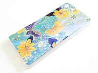 Чехол силиконовый для Sony Xperia M5 e5633 перламутровый с рисунком цветы бирюзовый