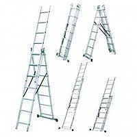 Универсальная алюминиевая трехсекционная лестница LZ3212B WERK профессиональная раздвижная лестница стремянка