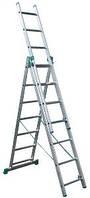 Универсальная алюминиевая трехсекционная лестница СЕ3х8 FORTE профессиональная раздвижная лестница стремянка