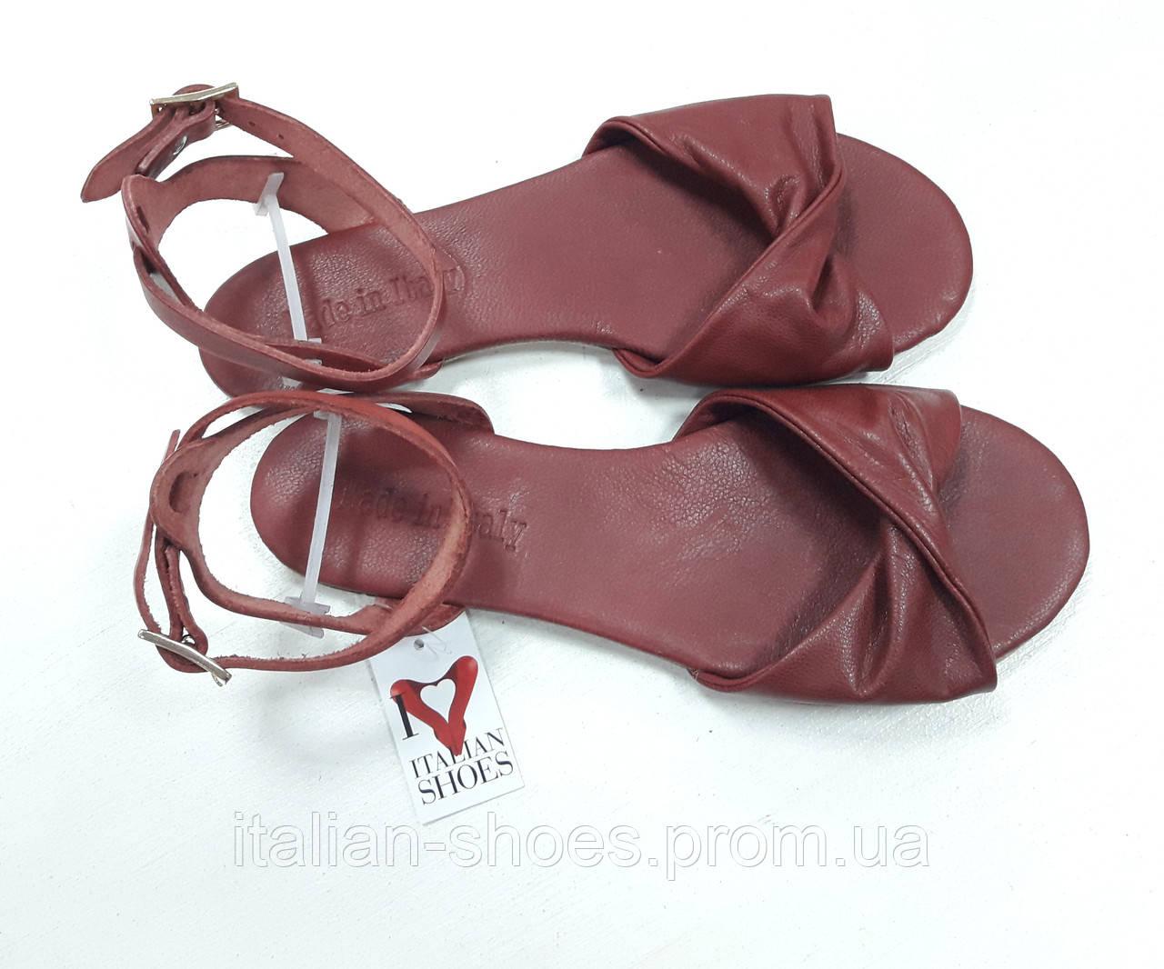 Бордовые кожаные сандалии Donna Italia