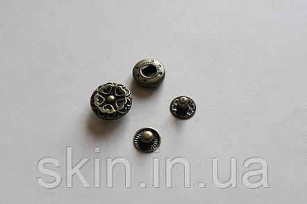 Декоративная кнопка альфа, цвет антик, диаметр 17 мм, артикул СК 5236, фото 2