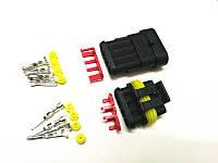 Разъем герметичный 4 контактный - Часто используется для ГБО (комплект)