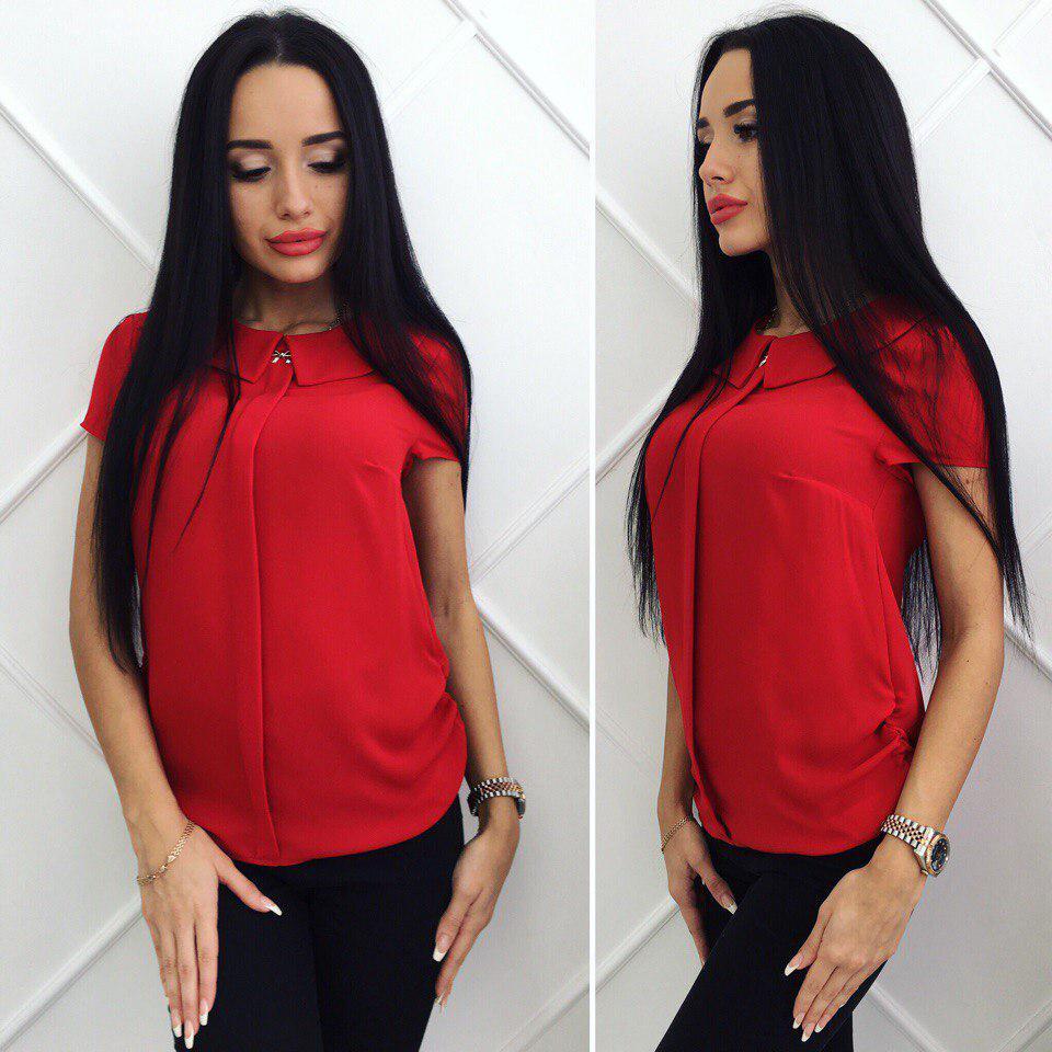358b4b37372 Красная легкая женская шифоновая однотонная блуза с коротким рукавом.  Арт-4183 32 -