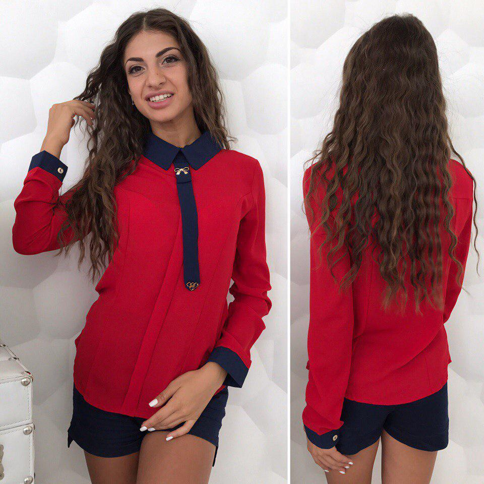 a2e6e81aeff Красная женская шифоновая блуза с длинным рукавом и темно-синим воротником  и галстуком . Арт-4185 32