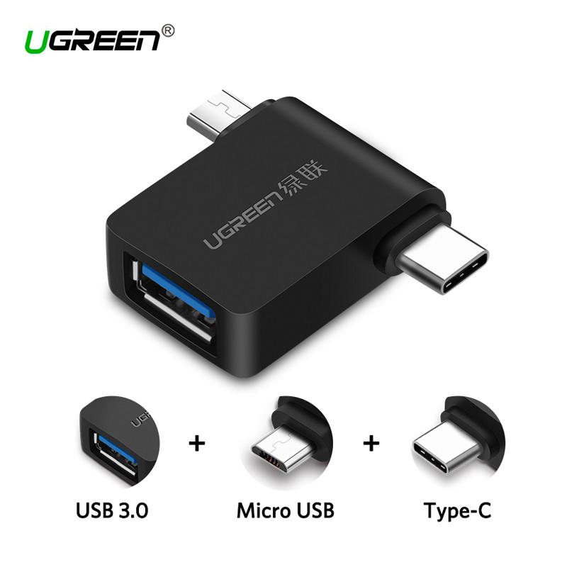 2 в 1 OTG адаптер Ugreen Micro USB + USB-C к USB3.0 30453 (Черный)