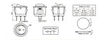 Переключатель клавишный КП-20 3 контакта, 2 положения с фиксацией и подсветкой 220В. Желтый, фото 2