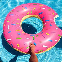 """Надувной круг """"Пончик"""" (120 см) розовый, фото 1"""