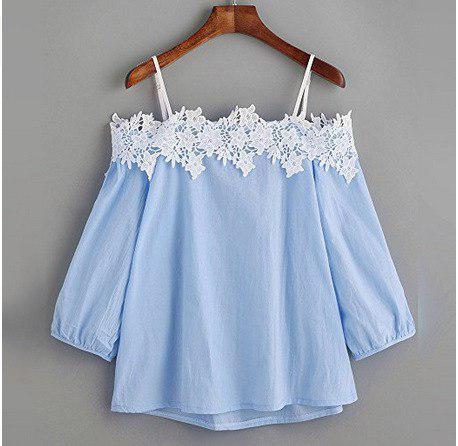 Женская блуза голубая с белым кружевом