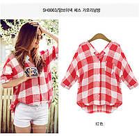 Женская хлопковая рубашка в крупную красно белую клетку, короткий рукав, фото 1