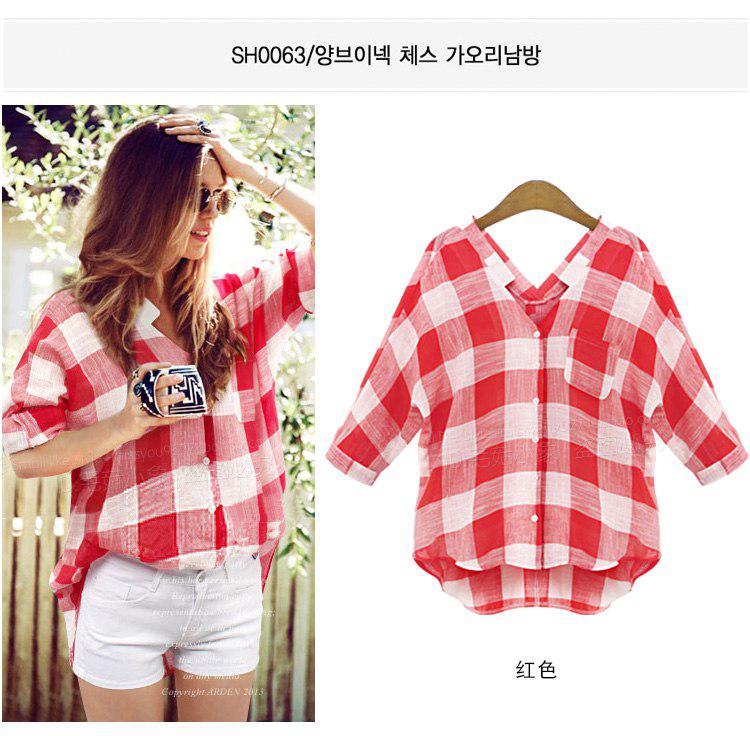 Женская хлопковая рубашка в крупную красно белую клетку, короткий рукав