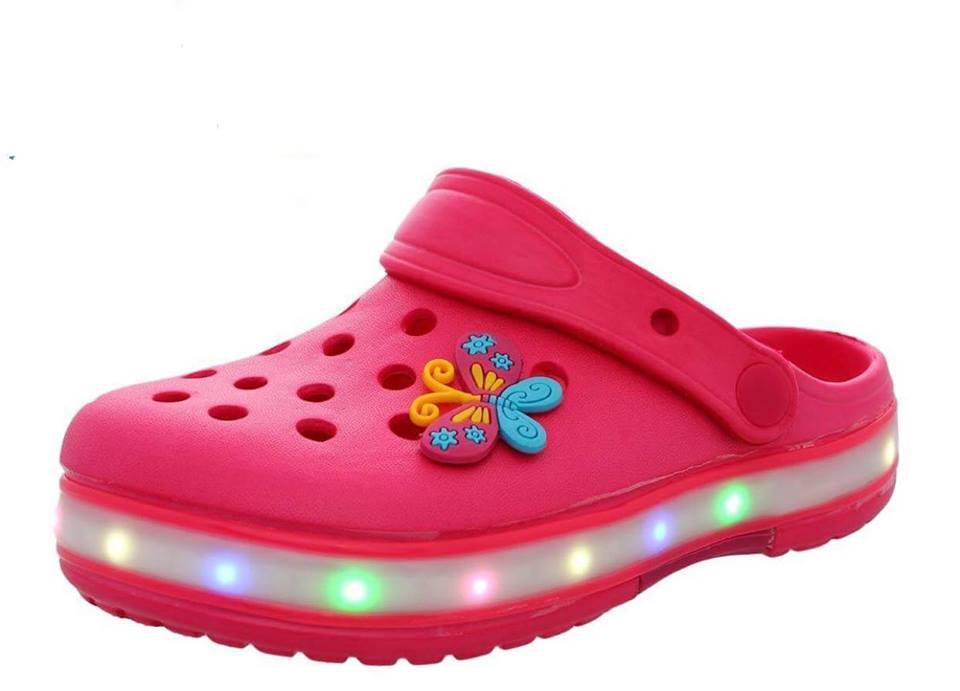 Кроксы (дев) с подсветкой LED Шалунишка фуксия (р.34,35)