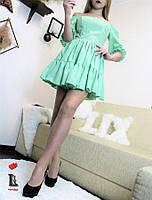 Женское летнее платье с резинкой на поясе и с  воланами, фото 1