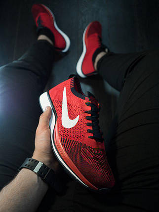 Мужские кроссовки Реплика Nike Racer / Найк рейсер червоні з білою підошвою, фото 2