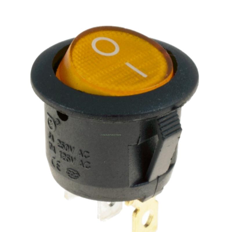 Переключатель клавишный КП-20 3 контакта, 2 положения с фиксацией и подсветкой 220В. Желтый