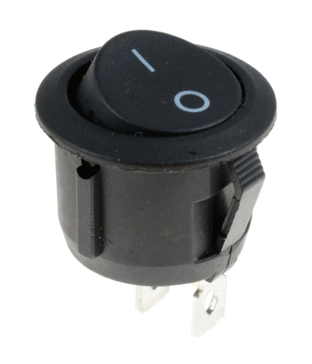 Перемикач клавішний КП-20 3 контакти, 2 положення з фіксацією без підсвічування 220В. Чорний