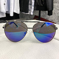 Gucci Sunglasses Aviator Metal GG Silver Blue 8f4a66681696d