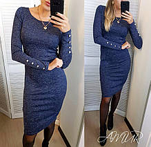 Платье ангоровое теплое с пуговицами на рукавах длина миди, фото 3