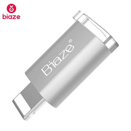 Biaze переходник-адаптер microUSB к Lightning для передачи данных и зарядки iPhone/iPad/iPod (Серебристый), фото 2