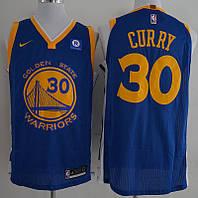 Вышивка мужская майка синяя Nike Curry №30(Стефен Карри) Golden State Warriors сезон 2017-2018
