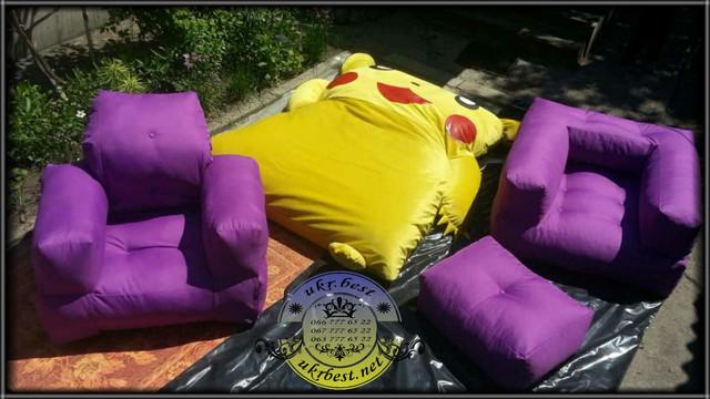 Бескаркасная мебель от производителя в Украине - интернет-магазина UkrBest. Кресло-кровать Хиппо и Куб фиолетовые, кровать Покемон Пикачу.