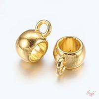 Металлические бейлы-бусины с кольцом 10х7мм золото для рукоделия