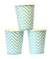 Стаканчики бумажные с рисунком (10 шт./уп.) одноразовые детские-   Голубой в белый зигзаг (250мл), Мятный