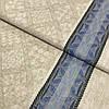 Лён полотенечный жаккардовый с ромбами и синей полоской, ширина 50 см