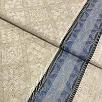 Лён полотенечный жаккардовый с ромбами и синей полоской, ширина 50 см, фото 1