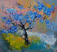 Цветущее дерево, весенний пейзаж, весна, картина маслом, масляная живопись, арт
