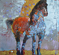 """Картина на холсте """"Лошадь"""", акрил, абстрактная живопись, авторская техника, интерьерная картина"""