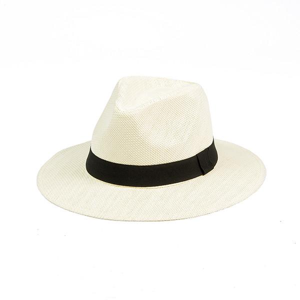 Шляпа летняя мужская с лентой  молочного цвета