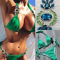 Купальник бикини зеленый с камнями, 4 цвета