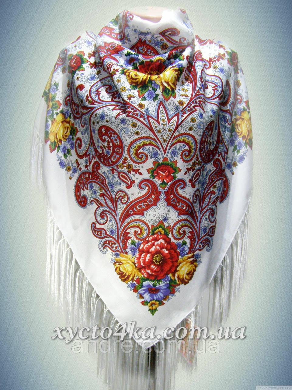 Шерстяной платок Сладкий сон, белый с красным